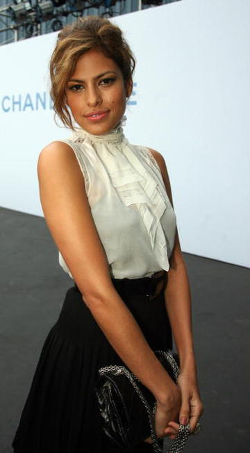 Eva Mendes at the Chanel cruise show in Santa Monica, CA.