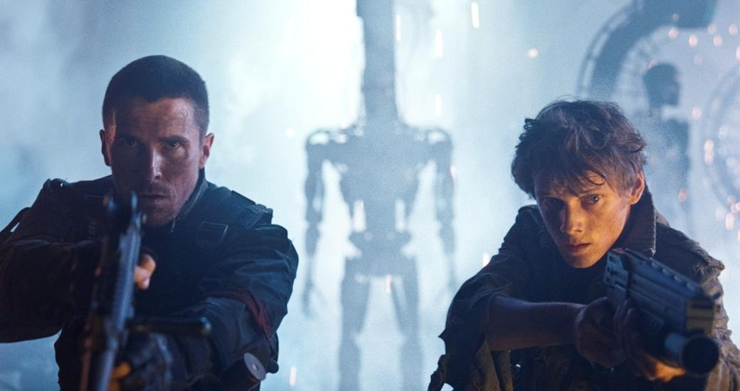 Christian Bale as John Connor and Anton Yelchin as Kyle Reese in