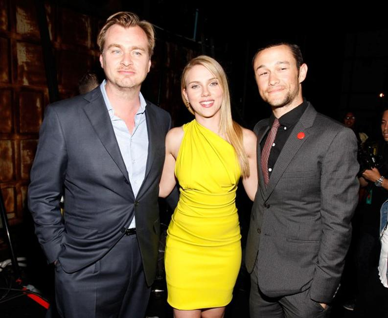 Director Christopher Nolan, Scarlett Johansson and Joseph Gordon-Levitt at the Spike TV's 4th Annual Guys Choice Awards.