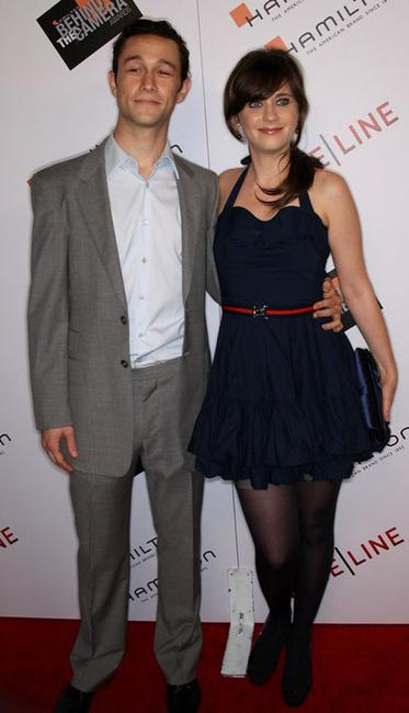 Joseph Gordon-Levitt and Zooey Deschanel at the Hamilton Behind the Camera Awards.