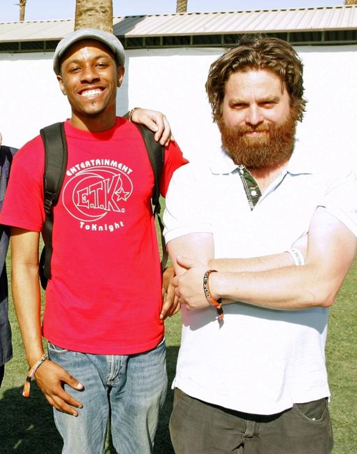 Jasper Redd and Zach Galifianakis at the Coachella Music Festival.