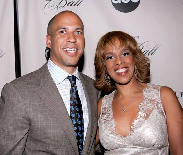 Cory Booker and Gayle King at the screening of