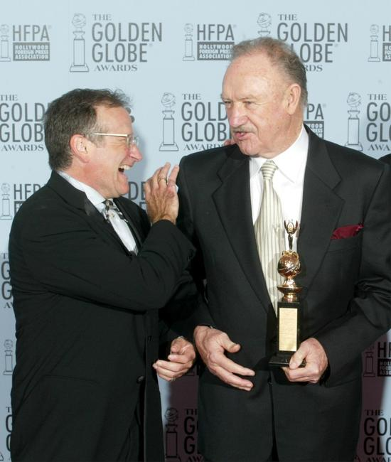 Gene Hackman and Robin Williams at the 60th Annual Golden Globe Awards.