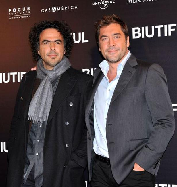 Alejandro Gonzalez Inarritu and Javier Bardem at the photocall of