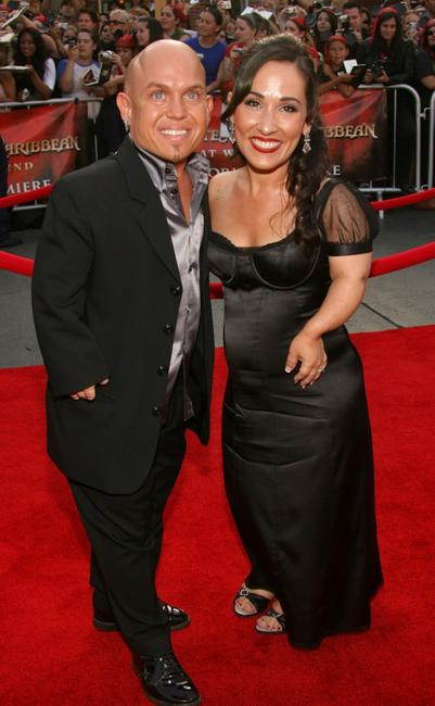 Martin Klebba and Meredith Eaton at the premiere of