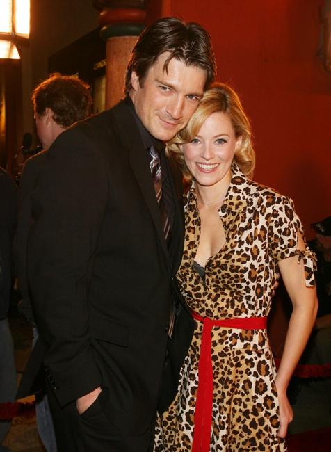 Nathan Fillion and Elizabeth Banks at the premiere of