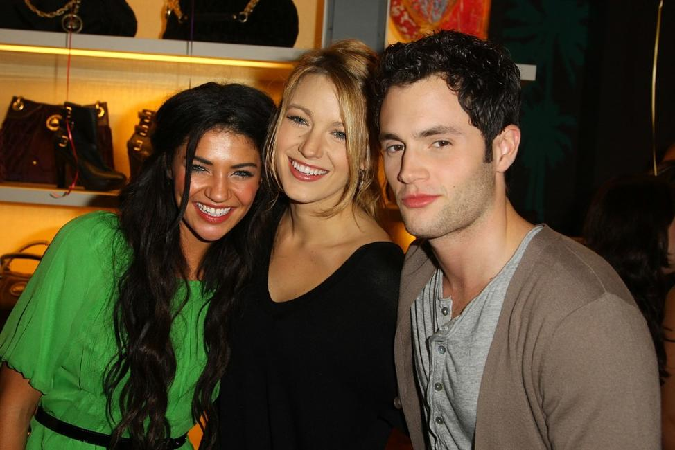 Jessica Szohr, Blake Lively and Penn Badgley at the opening party for Juicy Couture's 5th Avenue flagship store.