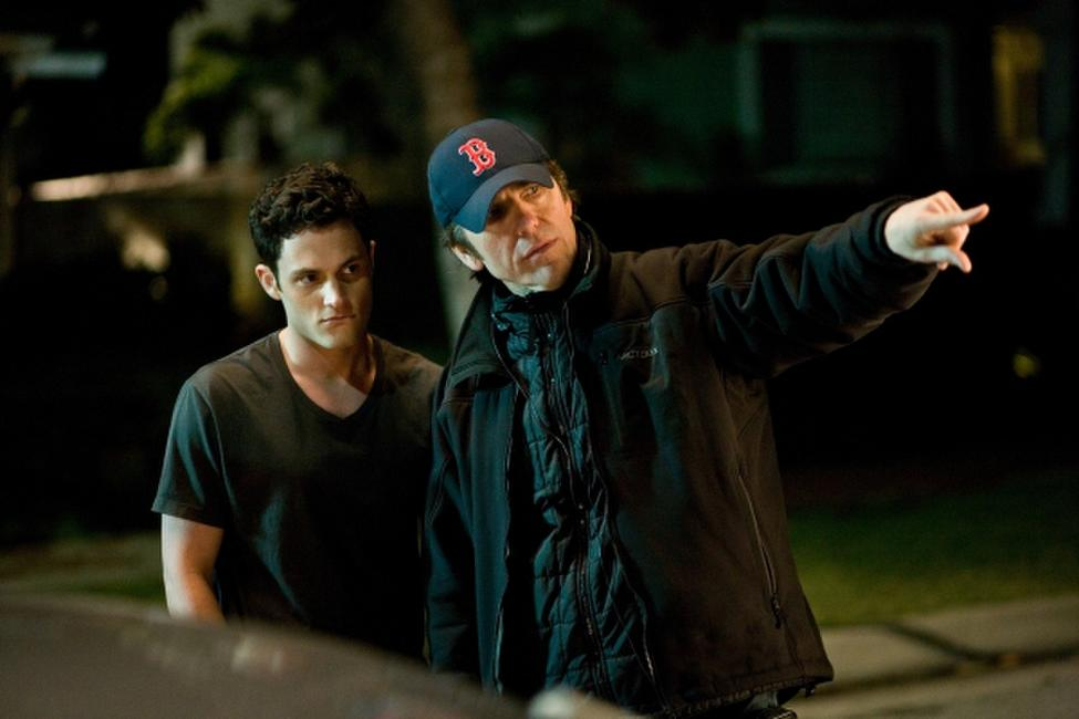 Penn Badgley and Director Nelson McCormick on the set of