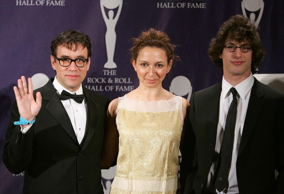 Fred Armisen, Maya Rudolph and Andy Samberg at the 22nd Annual Rock And Roll Hall Of Fame Induction Ceremony.