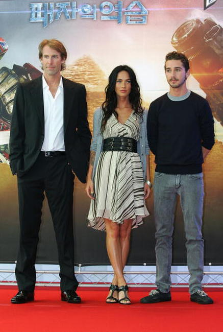 Director Michael Bay, Megan Fox and Shia LaBeouf at the press conference of