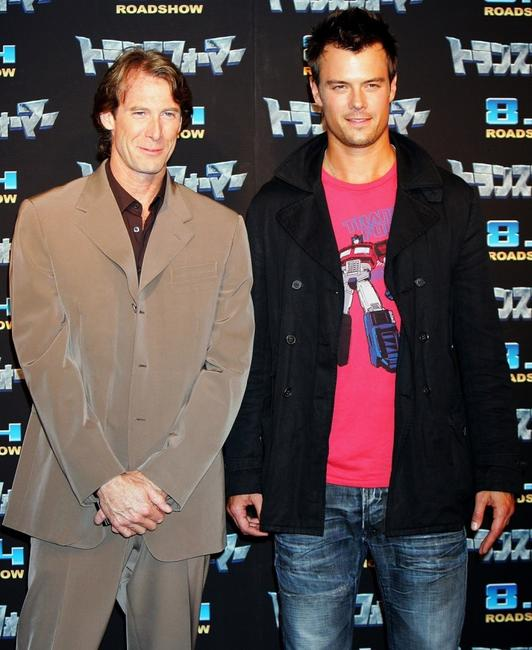 Director Michael Bay and Josh Duhamel at the press conference of
