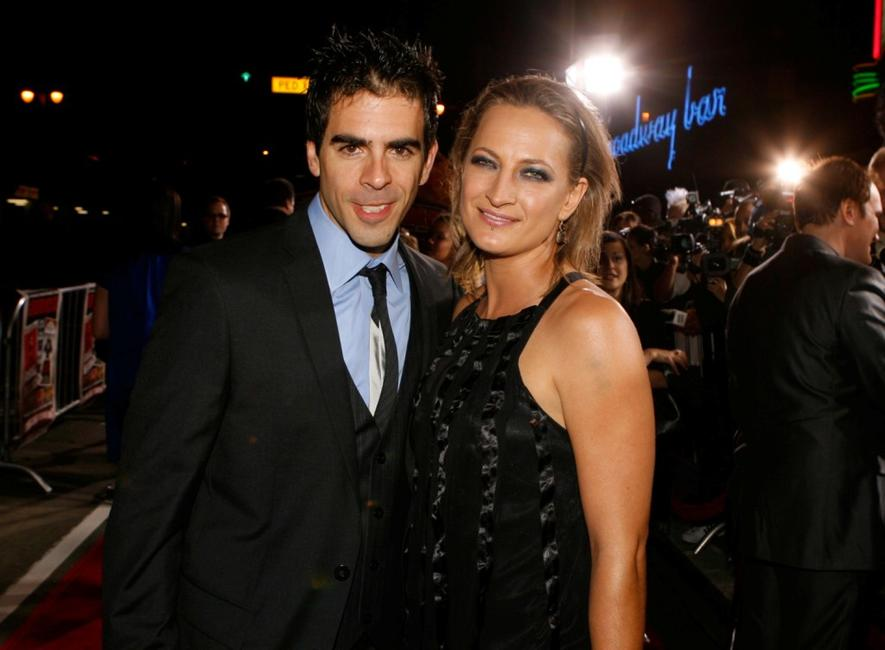 Director Eli Roth and Zoe Bell at the premiere of