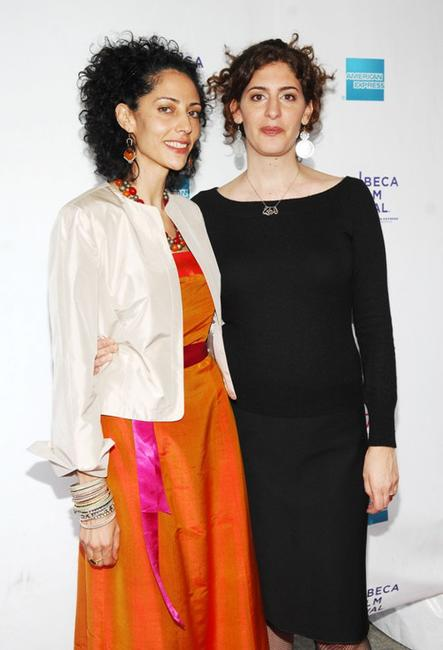 Suheir Hammad and Annemarie Jacir at the premiere of