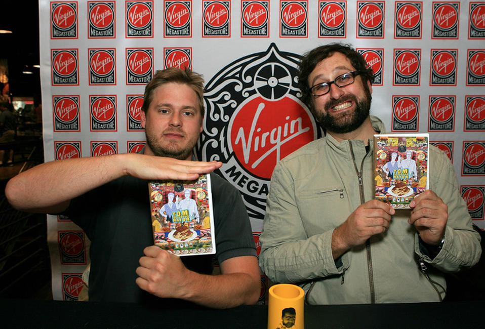 Tim Heidecker and cartoonist Eric Warheim at the DVD Signing of