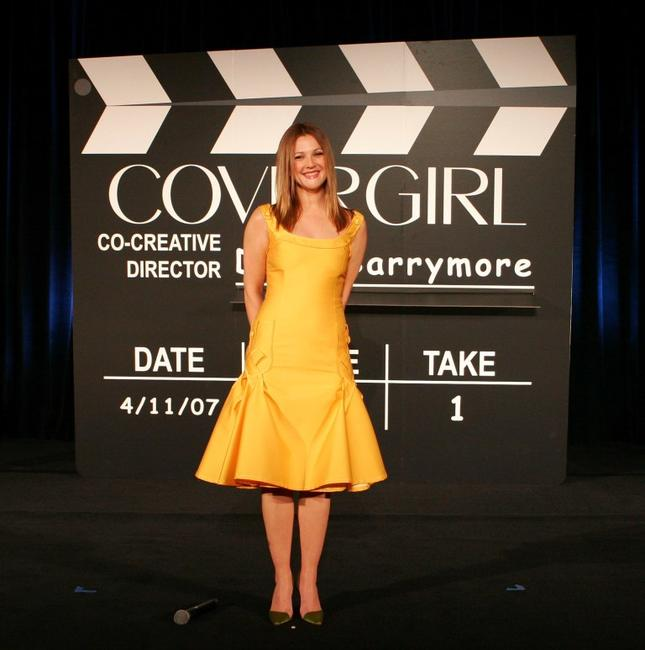 Drew Barrymore at the presentation as the newest face of CoverGirl Cosmetics.