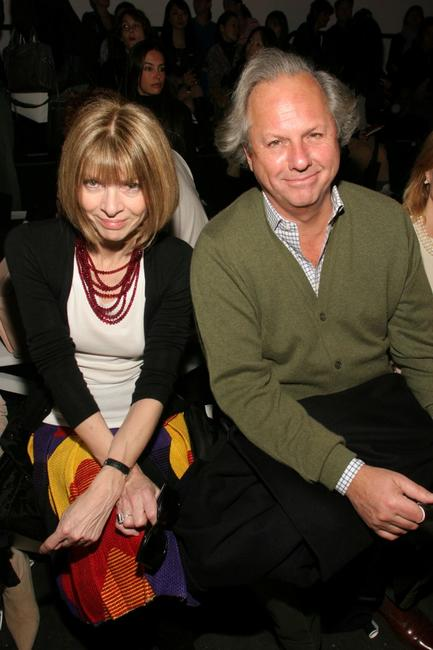 Anna Wintour and Graydon Carter at the Diane Von Furstenburg Fall 2005 show during the Olympus Fashion week.