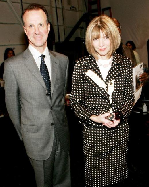 Tom Wallace and Anna Wintour at the Michael Kors Fall 2005 fashion show during the Olympus Fashion week.