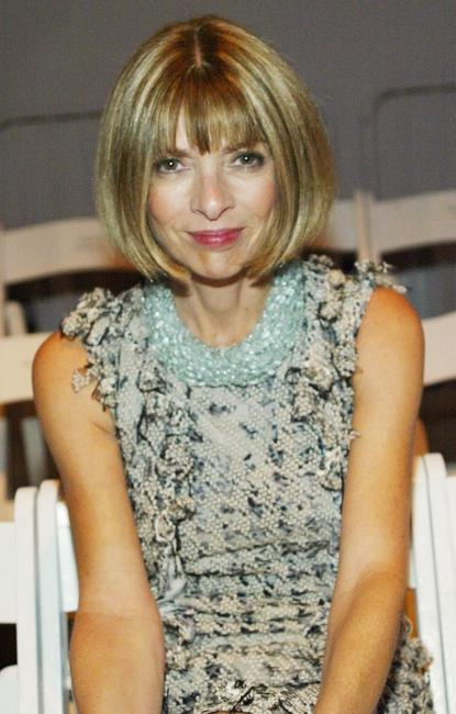 Anna Wintour at the J Mendel Spring 2005 fashion show during the Olympus Fashion week Spring 2005.