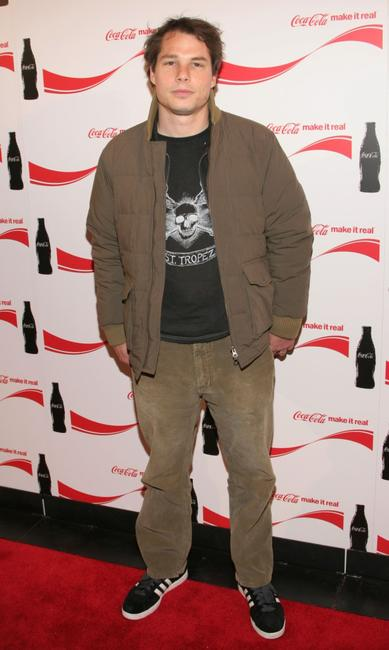 Shepard Fairey at the Coca Cola Make It Real party.