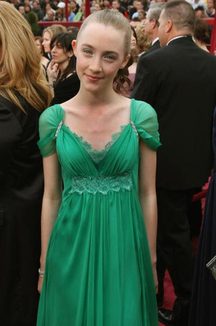 Saoirse Ronan arrives for the 80th Annual Academy Awards in Hollywood.