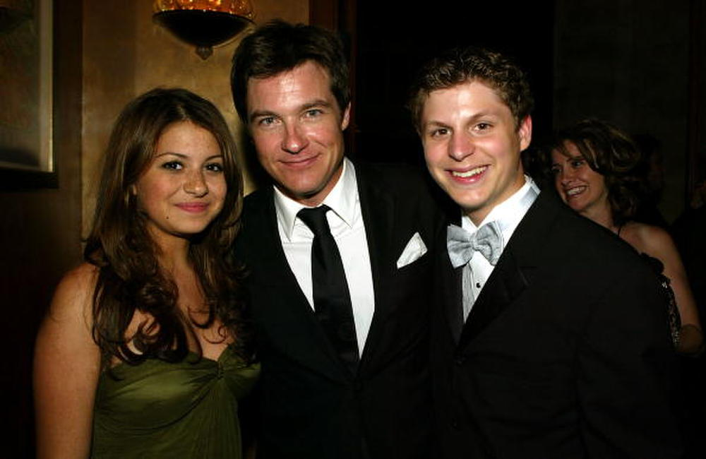 Alia Shawkat (L) with Actors Jason Bateman and Michael Cera at the FOX 56th Annual Primetime Emmy Awards Gala in Beverly Hills.