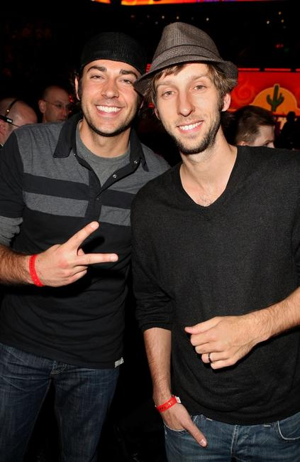 Zachary Levi and Joel David Moore at the 58th NBA All-Star Game.