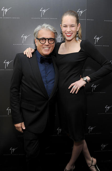 Designer Giuseppe Zanotti and Cody Horn at the Giuseppe Zanotti Design Beverly Hills Store opening in California.