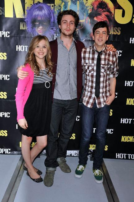 Chloe Grace Moretz, Aaron Johnson and Christopher Mintz-Plasse at the