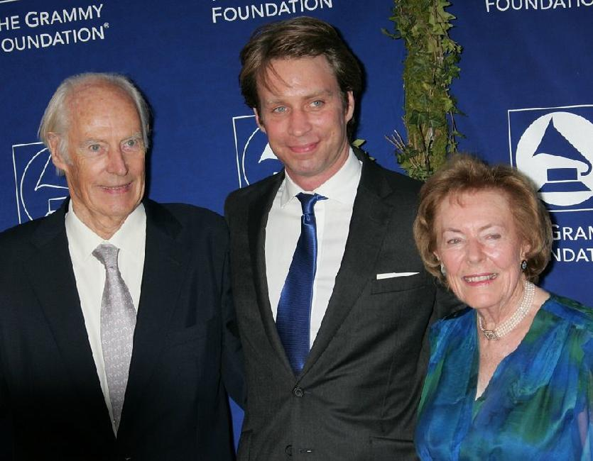 George Martin, Producer Giles Martin and Lady Martin (Judy Martin) at the Grammy Foundation's