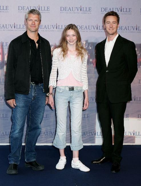 Neil Burger, Eleanor Tomlinson and Edward Norton at the photocall of