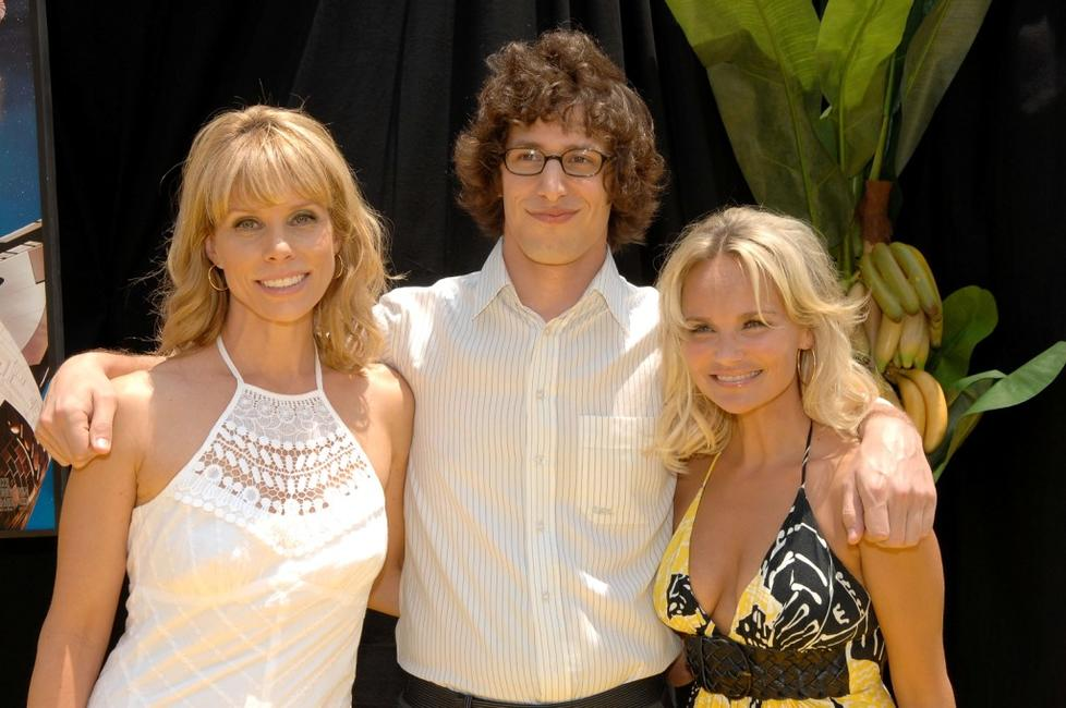 Cheryl Hines, Andy Samberg and Kristin Chenoweth at the premiere of