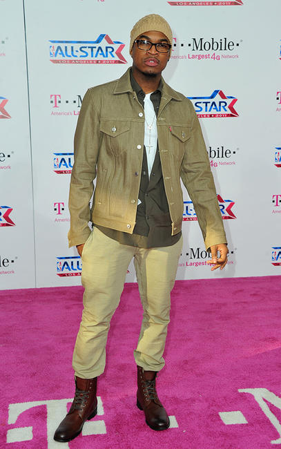 Ne-Yo at the T-Mobile Magenta Carpet of 2011 NBA All-Star Game in California.