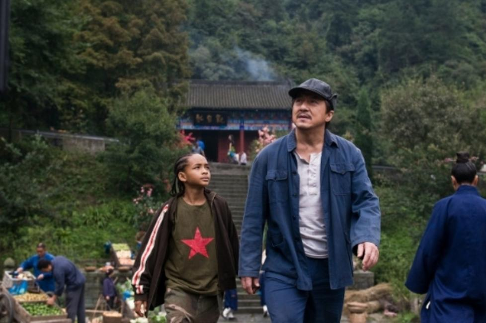 Jaden Smith as Dre Parker and Jackie Chan as Mr. Han in