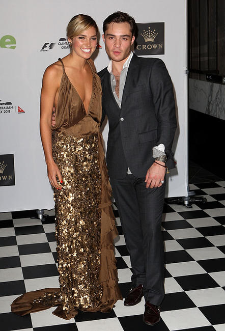 Ashley Hart and Ed Westwick at the 2011 Grand Prix party in Melbourne.