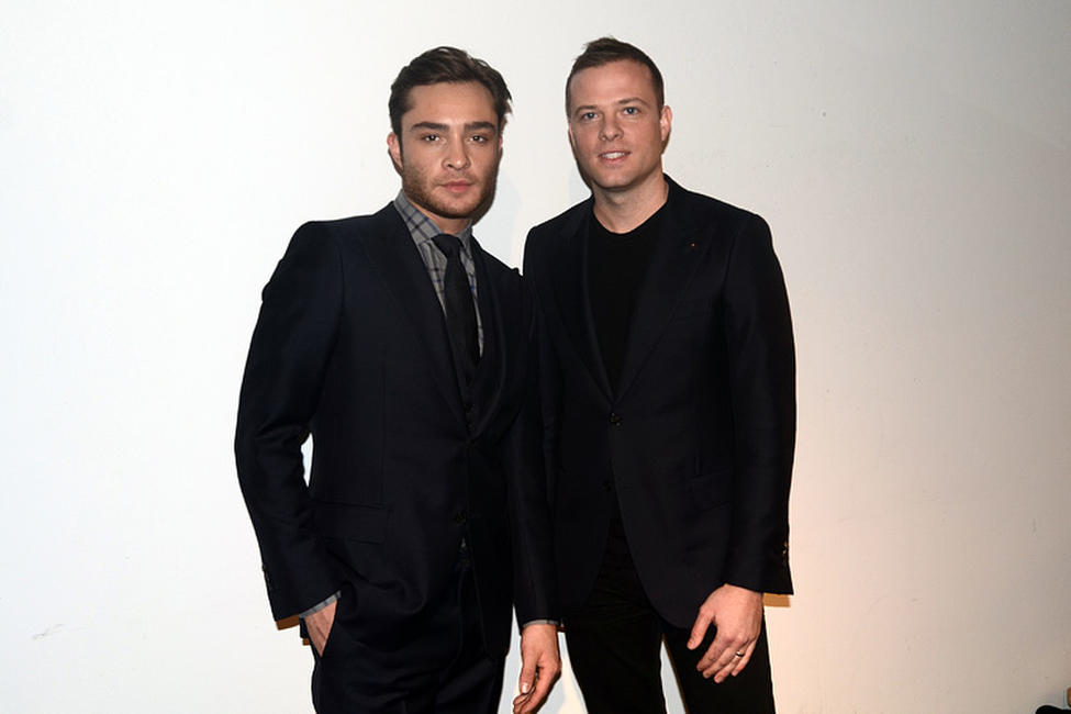 Ed Westwick and Simon Spurr at the Simon Spurr Fall 2011 fashion show during the Mercedes-Benz Fashion Week.
