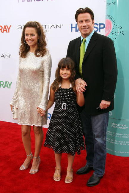 Kelly Preston, Ella Travolta and John Travolta at the Los Angeles premiere of