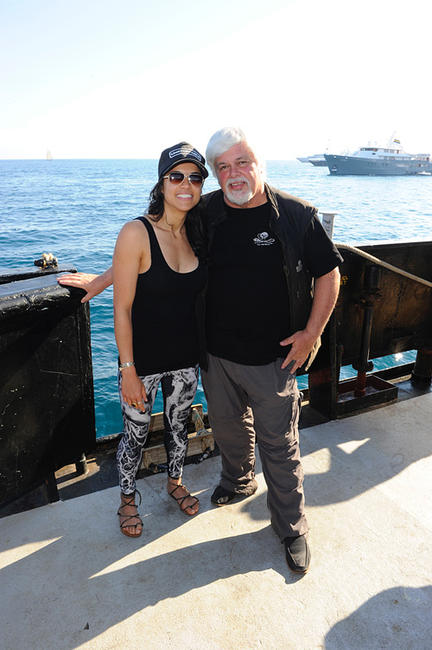 Michelle Rodriguez and Paul Watson at the Sea Shepard's Steve Irwin Vessel during The 64th Annual Cannes Film Festival in France.