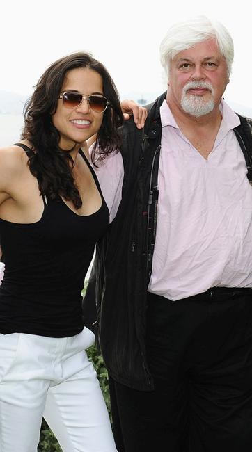 Michelle Rodriguez and Paul Watson at the Sea Shepherd lunch honoring Michelle Rodriguez and Paul Watson in France.
