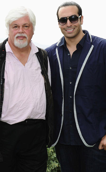 Paul Watson and producer Mohammed Al Turki at the Sea Shepherd lunch sponsored by producers Mohammed Al Turki and Hamza Talhouni honoring Michelle Rodriguez and Paul Watson in France.