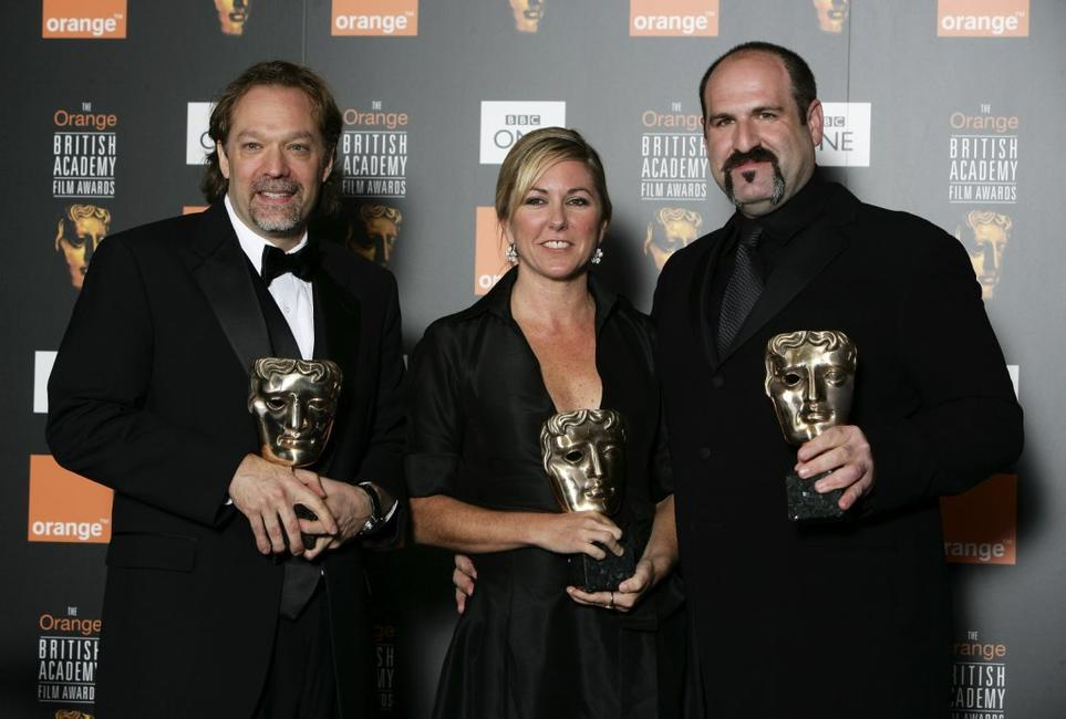 Gregory Nicotero, Nikki Gooley and Howard Berger at the Orange British Academy Film Awards.