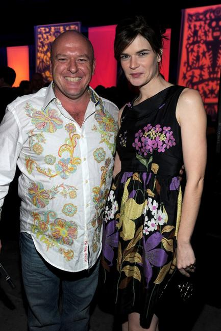 Dean Norris and Betsy Brandt at the after party of the third season premiere of