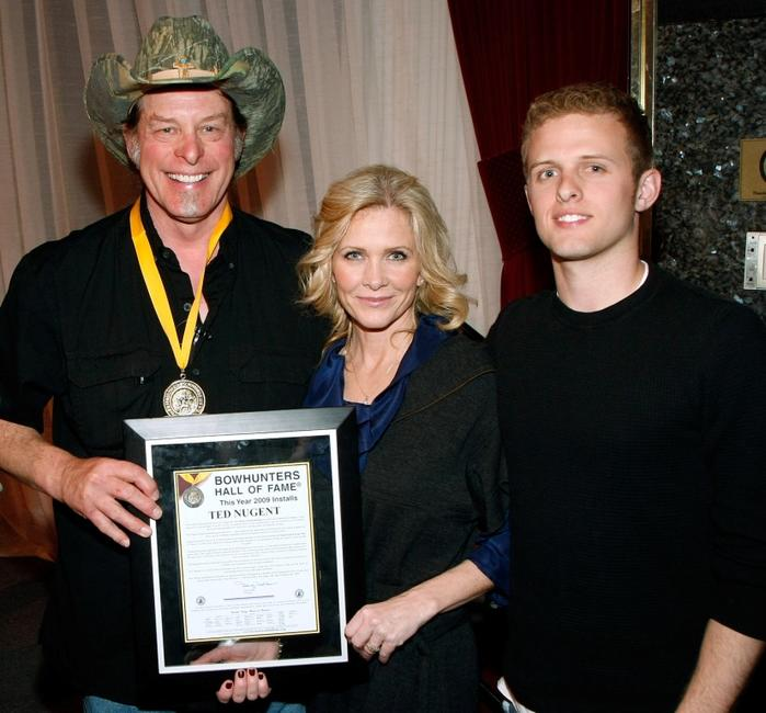 Ted Nugent, Shemane Nugent and Rocco Nugent at the National Bowhunters Hall of Fame during the National Field Archery Association's World Archery Festival.