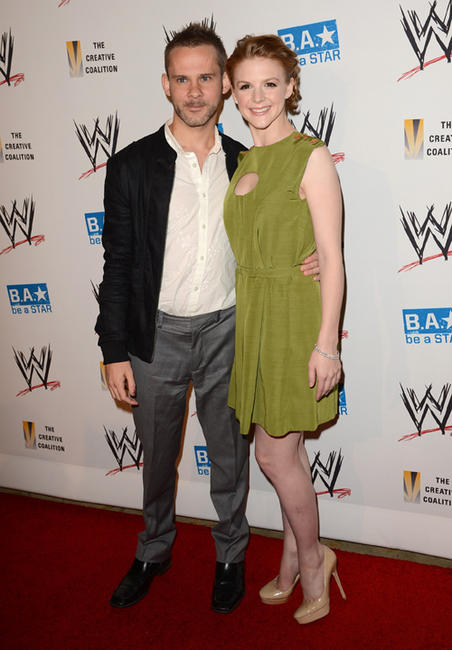 Dominic Monaghan and Ashley Bell at the WWE SummerSlam VIP Kick-Off party in California.