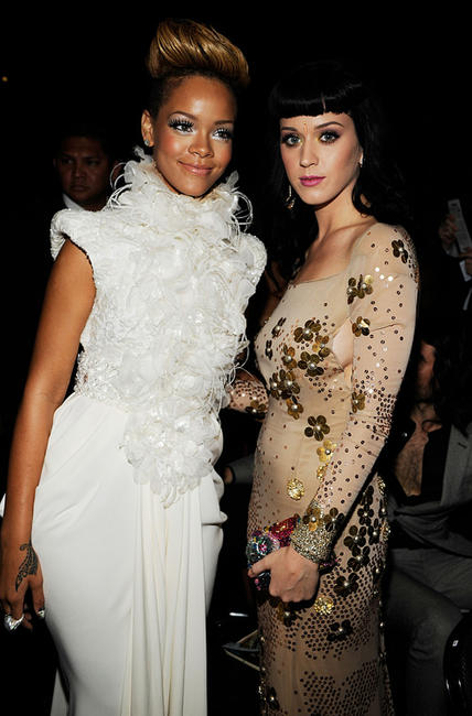 Rihanna and Katy Perry at the 52nd Annual GRAMMY Awards.