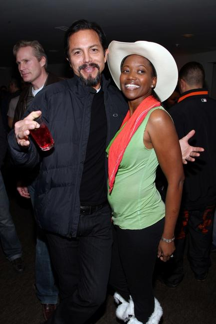 Benjamin Bratt and Erika Alexander at the People Speak ASCAP Music Cafe performance during the 2009 Sundance Music Festival.
