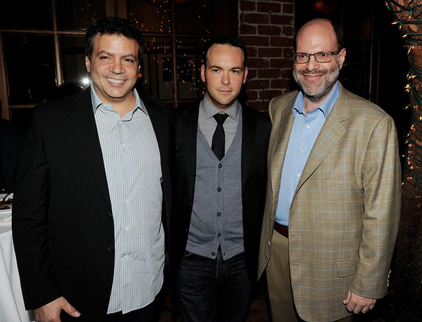 Michael De Luca, Dana Brunetti and Scott Rudin at the Blu-ray & DVD launch party of