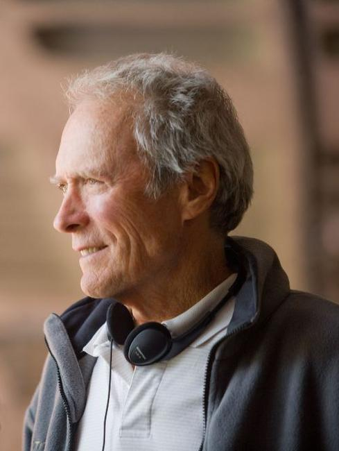 Director Clint Eastwood on the set of
