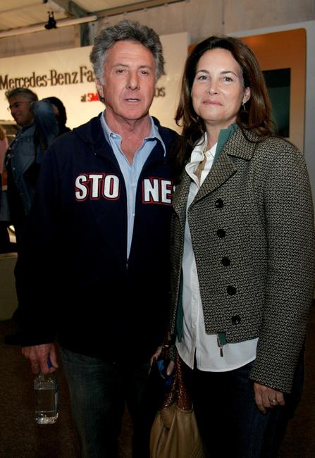 Dustin Hoffman and wife Lisa Gottsegen at the Mercedes Benz Fashion Week.