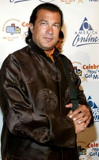 Steven Seagal at the America Online party to launch its 2002