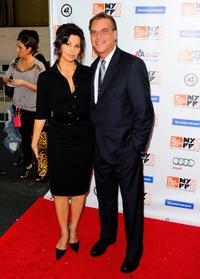 Gina Gershon and Aaron Sorkin at the premiere of